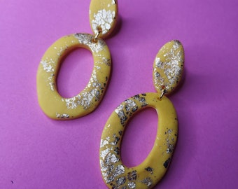 pink blue and gold. Wonky donut statement handmade polymer clay earrings