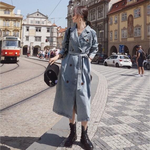Denim Trenchcoat  Korean Fashion  Autumn  Winter  Coat  Trench  Women Coat  Long Coat