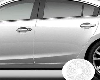 Chrome Car Door Edge Guard Two 27 Inch Carded Strips Full Size U Shape