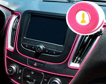 Pink Car Interior Decorative Molding Door Panel Gap Trim DIY Flexible Strip with Free Installation Tools
