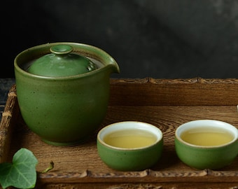 Handmade Ceramic Travel Tea Set   Portable Retro Tea Set for Two- 1 Teapot with 2 Tea Cups   Great Gift for Tea Lovers