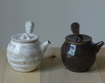 Minimal Ceramic Tea Pot 150ml/5oz   Japanese Kyusu Style Handmade Teapot   Kung Fu Tea Lovers Collection -White & Black Colors Available