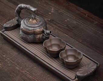 Ceramic Chinese Tea Set in Pumpkin Style/ Handmade Kungfu Tea Set - Teapot, 2 Tea Cups & Tea Tray / Stoneware TeaPot Set / Tea Lover Gift