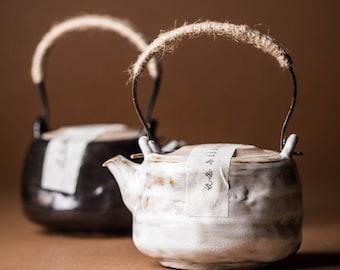 Handmade Ceramic Teapot 260ml/8.8oz  Japanese Style Kung fu teapot   White & Black Colors, Gongfu Tea Lover Gift