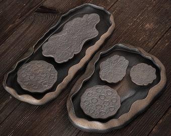 Lotus Pond Ceramic Gongfu Tea Tray / Handmade Tea Tray for Kung Fu Tea Ceremony / Retro Coarse Pottery Tea Tray - 2 Style