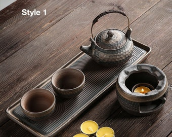 Handmade Kung Fu Tea Set / Japanese Style Hammer-pattern Ceramic Tea Set / Retro Coarse Pottery Kyusu Teapot Set /Gongfu lovers Gift