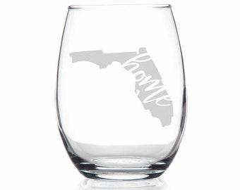 Etched Stemless Wine Glass Custom Wine Glass Florida Gift Wedding Gifts Florida Wine Glass Sandblasted Home State Gift Housewarming