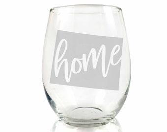 Wyoming State Stemless Wine Glass Wyoming Wine Glass Wyoming Fan Gift Wyoming Gift