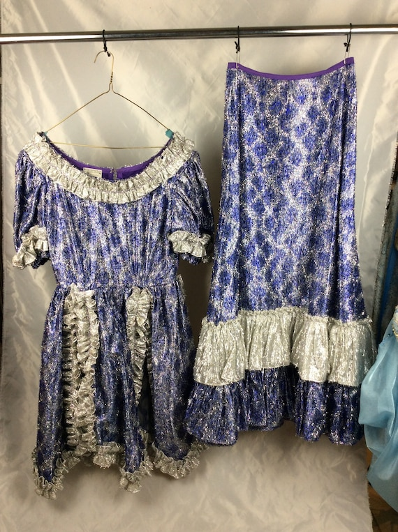 VINTAGE Periwinkle Showgirl Ballgown Costume from