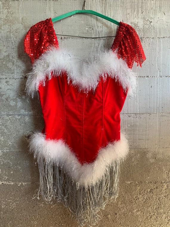 VINTAGE Fancy SANTA'S HELPER Showgirl Costume from