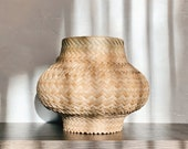 Woven Wicker Plant Storage Basket Vintage Bamboo Woven Rattan Planter Hand Woven Basket 1970s Home Decor Storage Basket