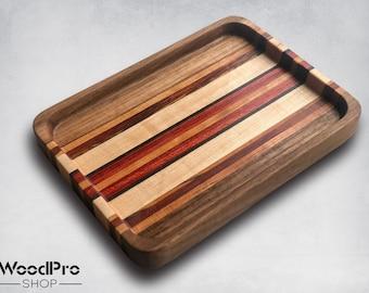 Luxury bathtub tray | Multicolor wood catchall tray | Mixed wood EDC tray | Dresser organizer | Wood jewelry tray | Christmas gift