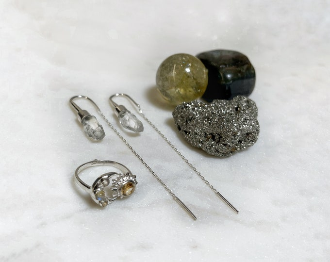 Clear Quartz Earrings, Sun and Moon Ring and Money Kit