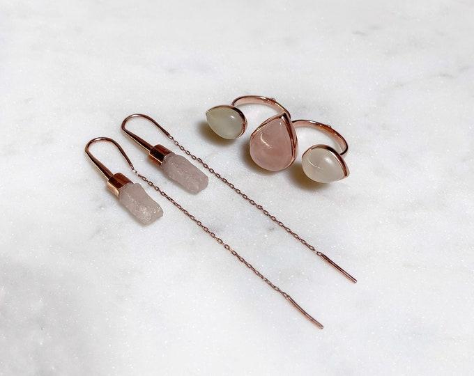 Rose Quartz Double Ring and Raw Rose Quartz Earrings