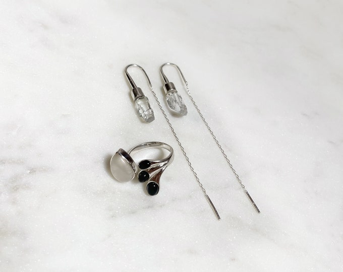 Yin Yang Ring and Raw Rose Quartz Earrings