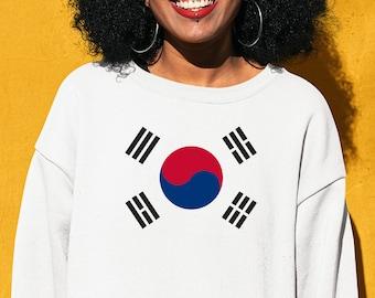 /'Til My Korean Comes Out Womens White Crew Neck Long Sleeve S-XXL Seoul Ladies South Korea Flag Sweatshirt Cute Now..