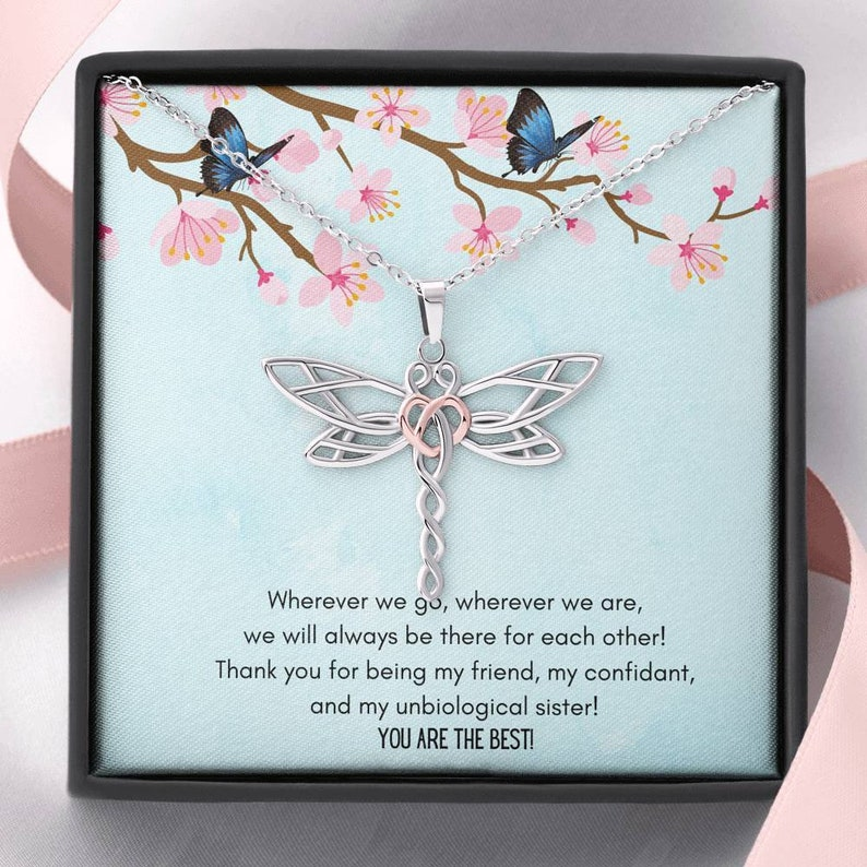 Wherever We are Dragonfly Necklace To My Unbiological Sister Wherever we go