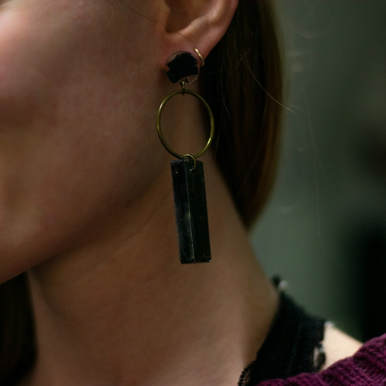 Recycled Plastic Black Rectangle and Circle Earrings