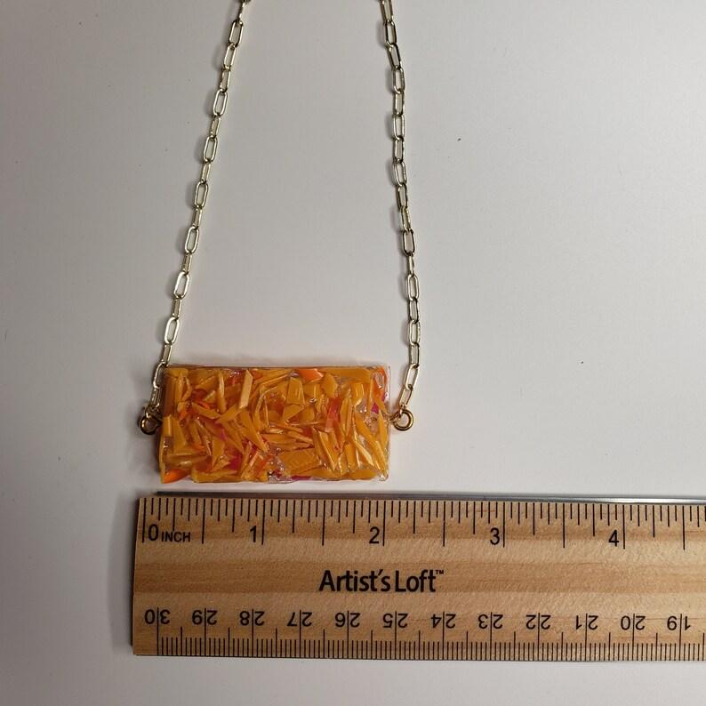 Recycled Plastic Rectangle Orange Necklace