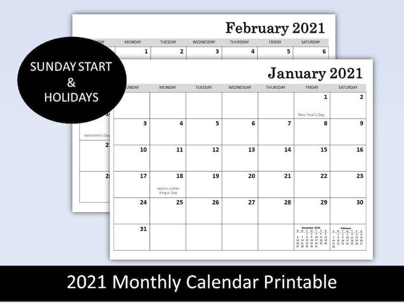 2021 Monthly Calendar Printable plain calendar planner | Etsy