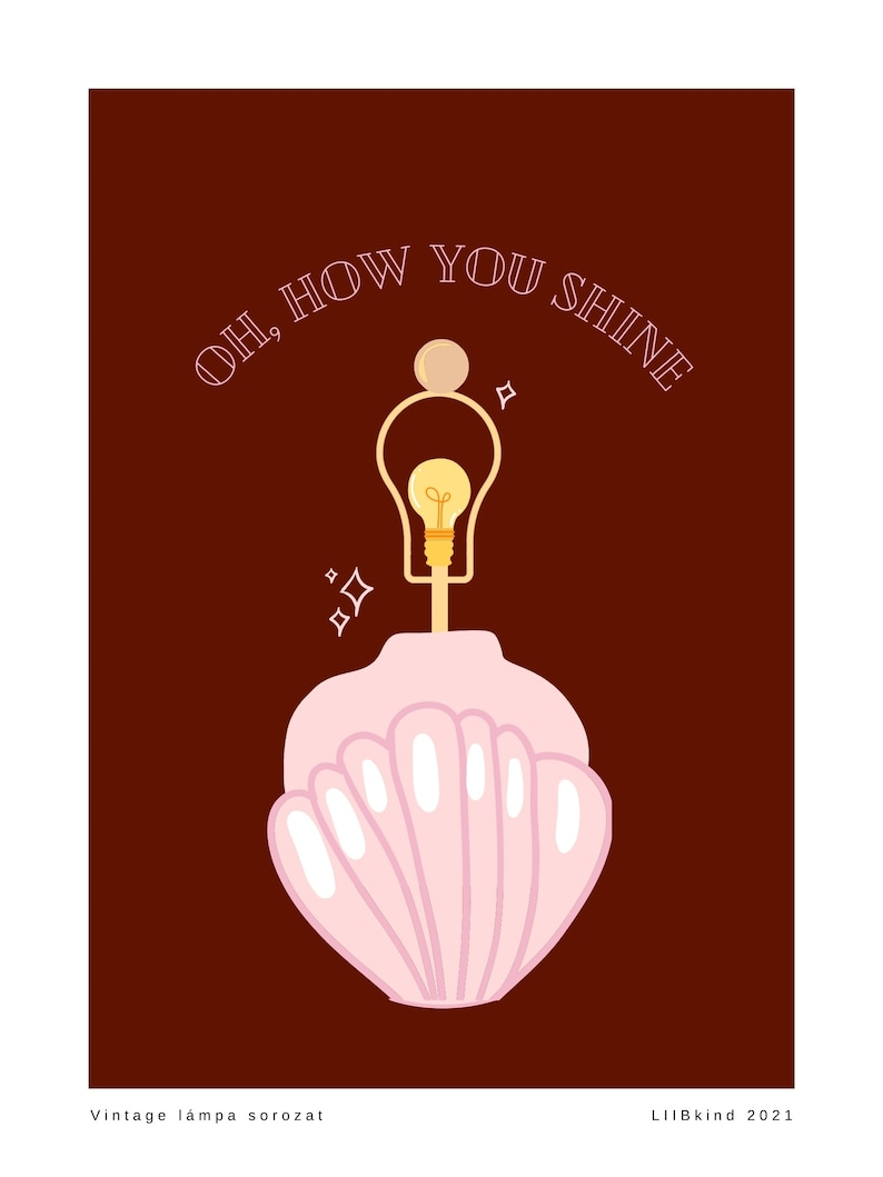 Oh How You Shine Pink and Maroon Art Deco Lamp Art Print  Wall Art Vintage Lamp Series