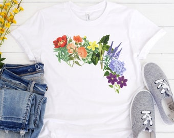 Womens Floral Shirt, Rainbow Flower T-shirt, Nature Shirt, Wild flowers Graphic Tee, Botanical Shirt, Nature Walk Shirt, Nature Girl Tee