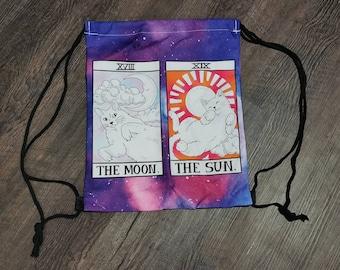 Cat Tarot Sun & Moon Drawstring Backpack Bag