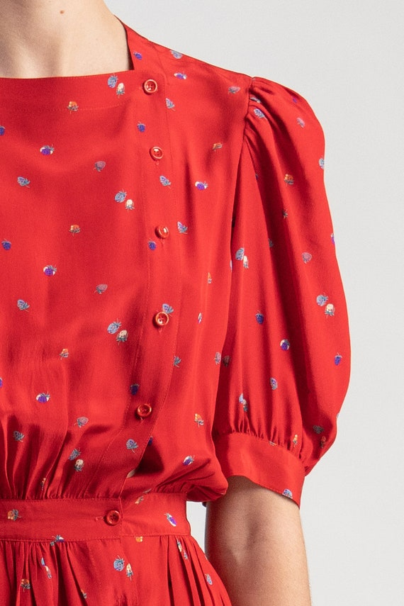 Vintage 80s Cassant silk dress. Red with strawber… - image 2