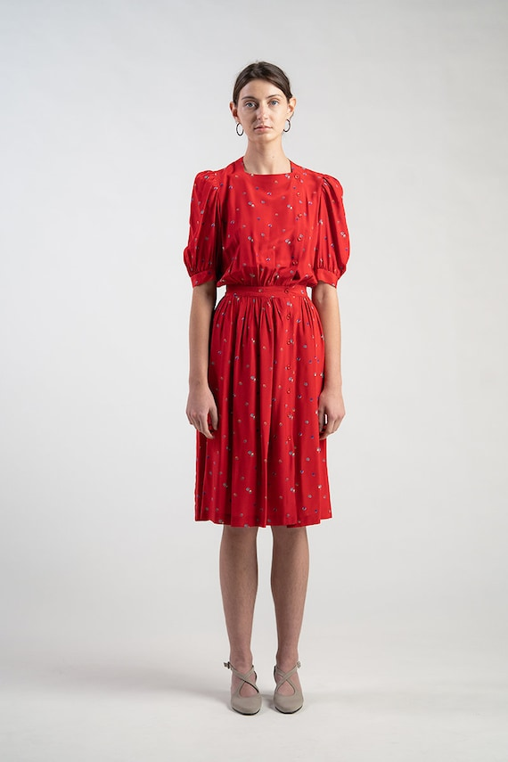 Vintage 80s Cassant silk dress. Red with strawber… - image 3