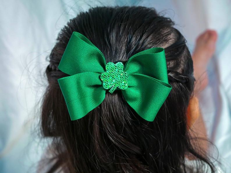 St Patrick/'s Day hair bow st patricks hair clip st patricks hair accessories toddler bows shamrock bow clover hair bow green hair bow