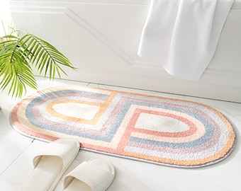 New Nordic Bath Mat,Color Semicircular Stripe Bathroom Carpet,Non Slip Entrance Floor Mat,Doormat Kitchen Absorption Rugs,Home Decoration