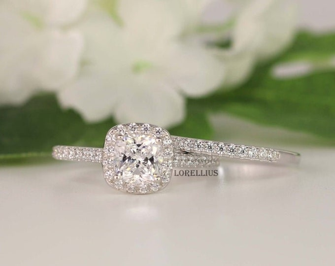 1.0ct Wedding Ring set Anniversary Ring Cushion Halo Ring Sterling Silver Cubic Zirconia Ring Cushion Cut Engagement Ring