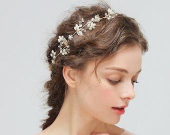 Women Lady Girl Cream white Twist Pearl Party Slim Hair Head band headband Hoop