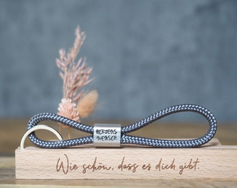 Personalised keychain made of saildew hand-stamped | Heart-man