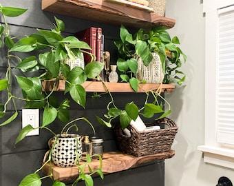 Rustic Live Edge Floating Shelf/shelves | Bathroom & Kitchen Shelf/shelves | Book Shelf | Wood Shelf Shelves | Bedroom Storage