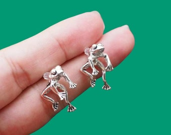 Frog Earrings Stud Earrings Hanging Frog Silver Plated 2 Ways to Wear Pendant Necklace