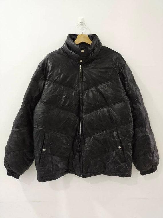 LICORICE Leather Puffer Jacket Full Zipper Size L