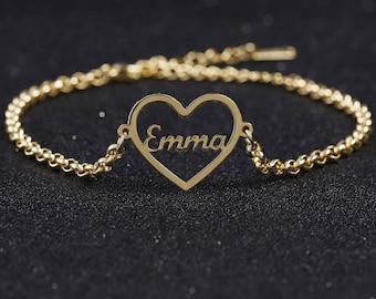 Birthday Gift Ideas Dainty Charm Zircon Heart Custom Russian Hearts Name Bracelet Laser Beads Jewelry Personalized Cyrillic Bracelet