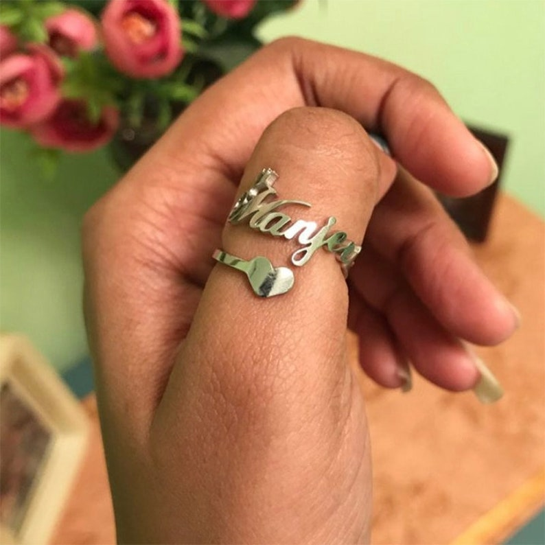 Custom Handmade Name Rings 18K-14K GoldSilver Plated Personalized Jewelry with a Gift Box RUK011