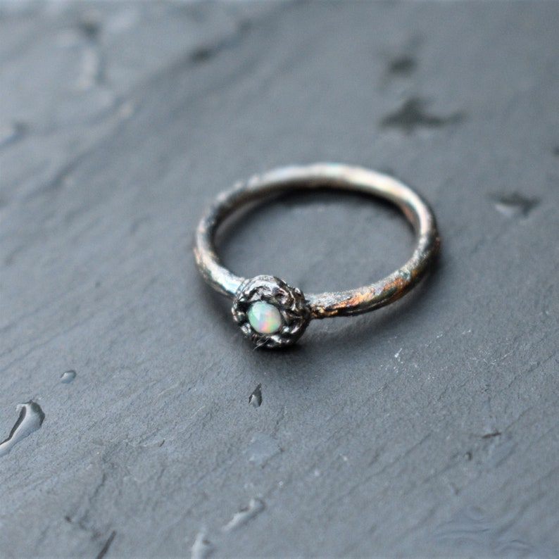 Silver opal ring Organic ring .Sizes.