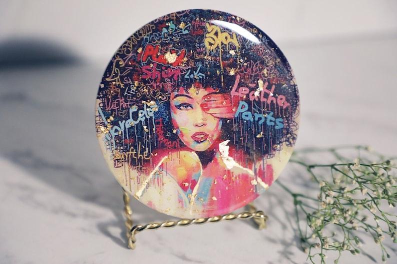 Resin Art Coasters- Black Girl Joy- Set of 2 Resin Drinkware Resin Coasters Candle Stand