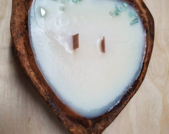 Heart Dough Bowl Candle   2 Wick   All Natural   Soy Wax