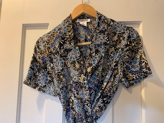 90's Talbots 100% Silk Blue Floral Wrap Dress
