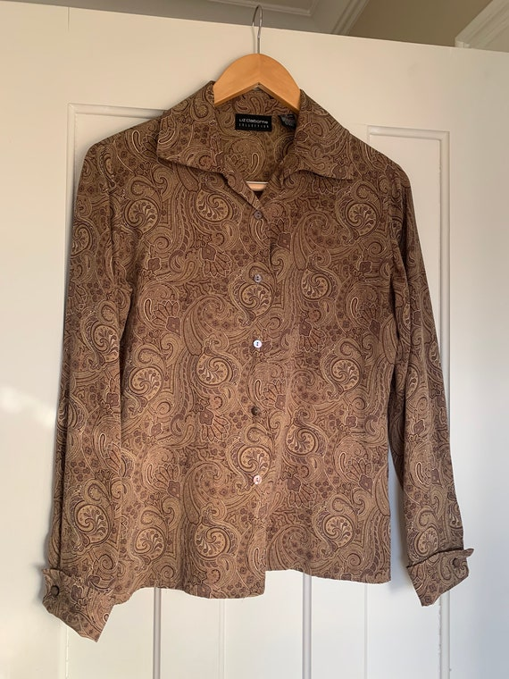 90's Liz Claiborne Brown Paisley Blouse with Frenc