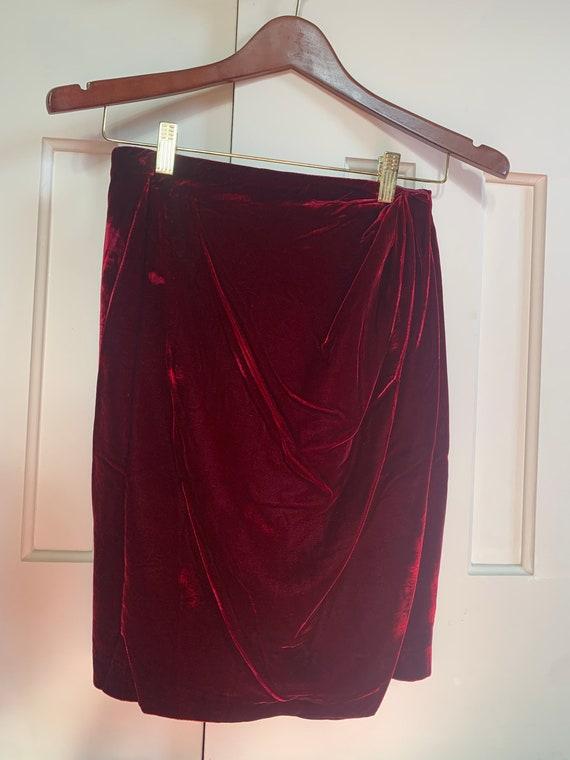 RL Purple Label Red Velvet Wrap Skirt