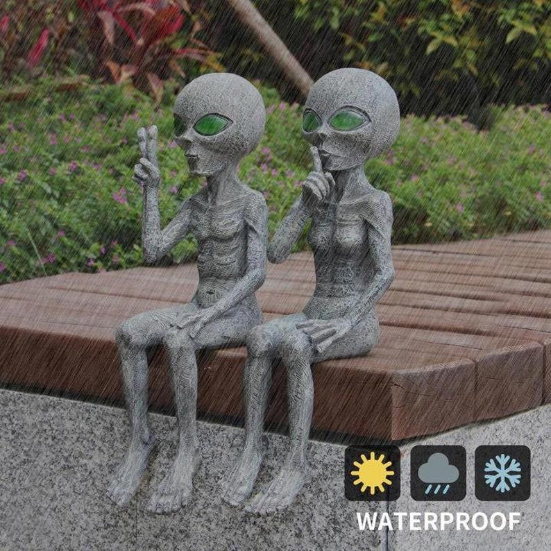 Alien Solar-Light Statue Set Garden Decor-outdoor indoor image 3