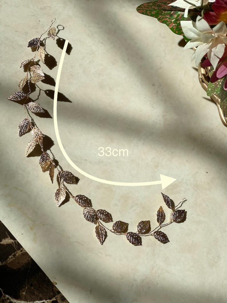 hair jewelry flower Bridal shower Gold Boho Bridal hair accessories bride Golden metallic leave hair accessory girls