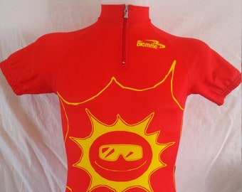 Cotton Mix 90/'s Vintage Cycling Jersey made by Biemme Italy Genuine Cycle Shirt Tag is XXL but it/'s a Large