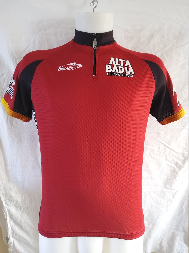Alta Bida Italian Dolomites Cycling Jersey Made in Italy in Size 4  L Bike Shirt is New but Vintage cycle top with 34 Front Zip
