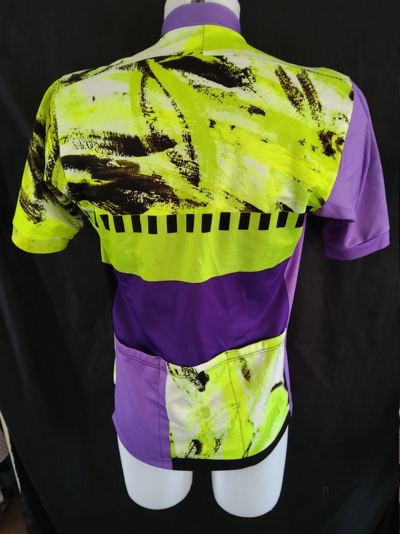 L made Middle 90/'s Cycle  Bike T-shirt Retro Vintage Cycle Jersey Print with Shoulder Pads Unique Italian Made by SEB Cycling Shirt